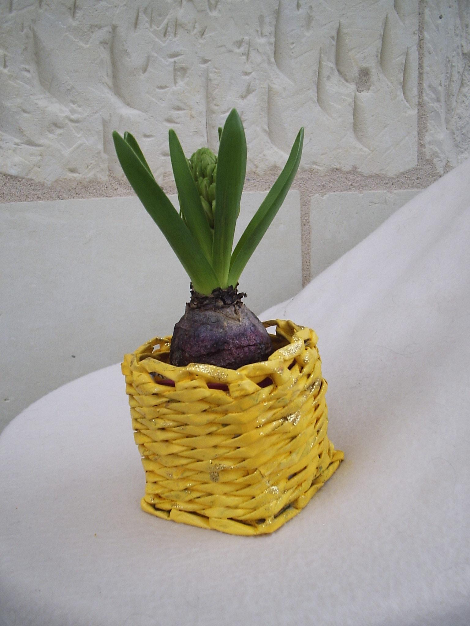cache pot tress avec du papier journal jaune dor eco vannerie. Black Bedroom Furniture Sets. Home Design Ideas